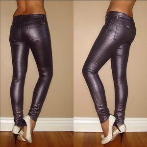 7 For All Mankind Metallic Skinny Jeans New w/Flaw